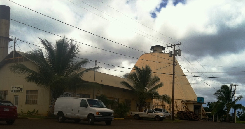 An old sugar processing plant, this spot in Waialua now grows and dried coffee and coccoa.
