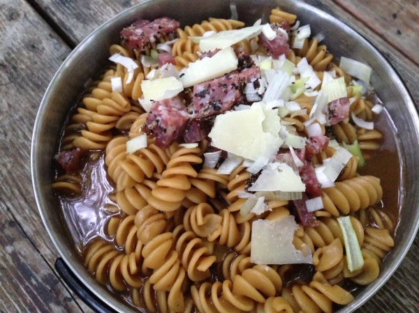 ...and it would produce great meals like this on on our first night.  This was pasta in a red wine (powdered) sauce with dried sasuage, and Pecorino cheese.