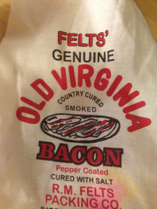 Nearly every recipe begins with bacon and I was ready with some authentic smokey Virginia bacon.