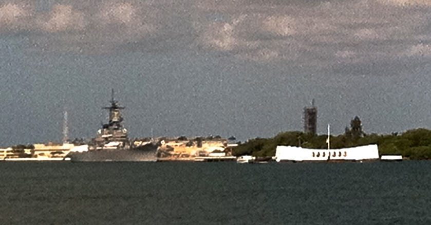 The Arizona Memorial next to the USS Missouri