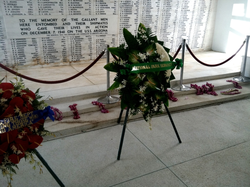 On this, Memorial Day, many had lain Hawaiian leis at the foot of the wall.