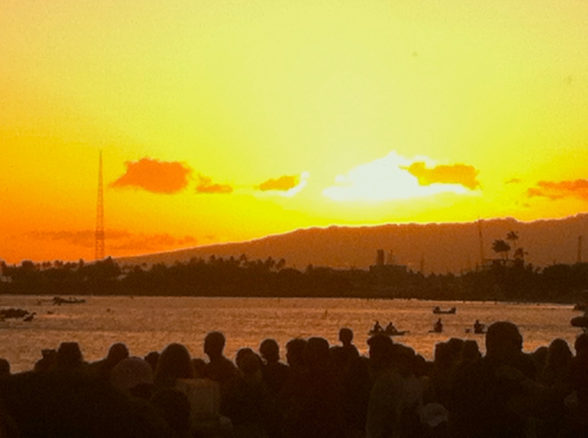 The ceremony took place at sunset at the welcoming site of Ala Moana Beach Park.