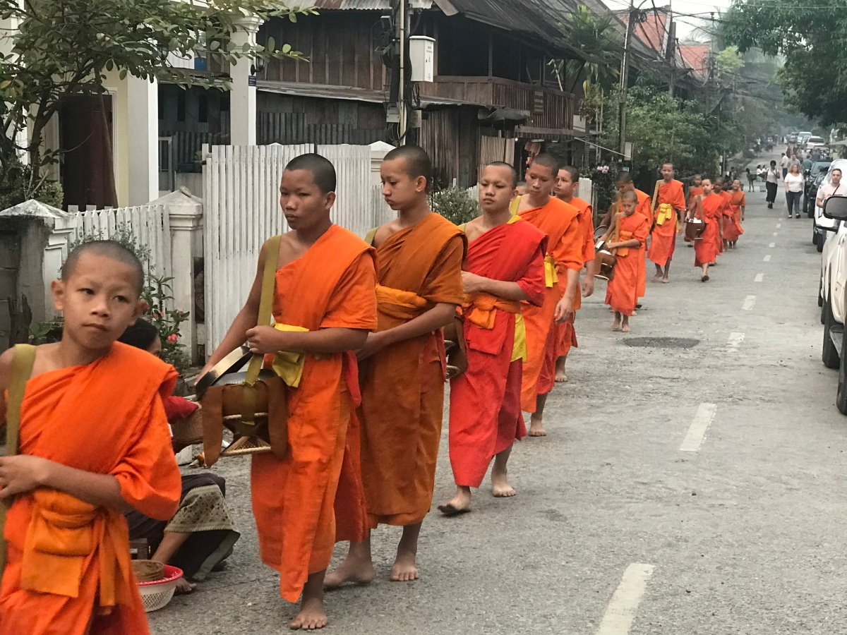 Giving alms in Luang Prabang, Laos